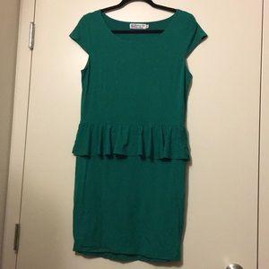 Peplum Cap-sleeve Dress (Fighting Eel)